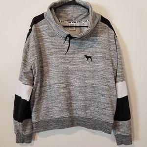 Victoria's secret pink cowl neck logo sweater L